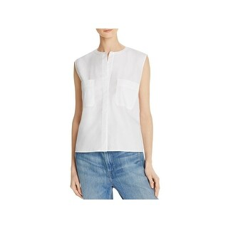 Vince Womens Button-Down Top Side Slit Sleeveless