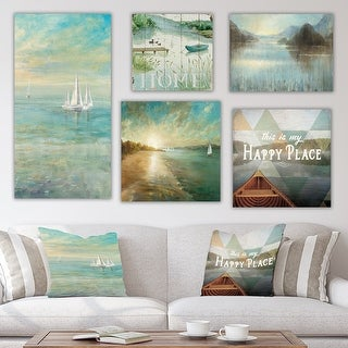 Designart 'Lake Collection' Traditional Wall Art set of 5 pieces - Blue