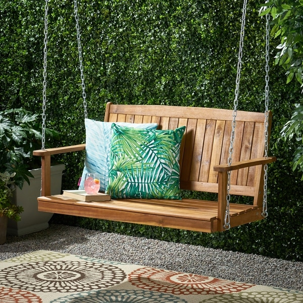 Tambora Outdoor Aacia Wood Porch Swing by Christopher Knight Home. Opens flyout.
