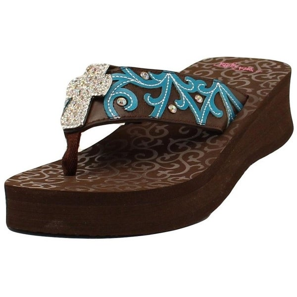 Blazin Roxx Shoes Womens Miranda Flip Flops Cross Brown Turq