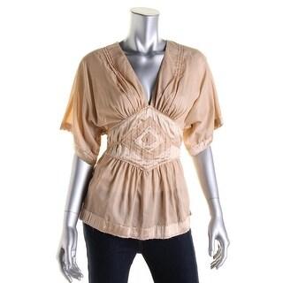 Catherine Malandrino Womens Silk Trim Pintuck Casual Top - S