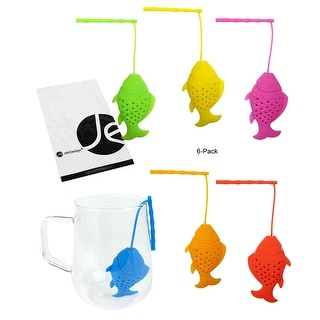 JAVOedge (6 pcs SET) Food Grade Silicone Tea Infuser Fishing Design Style - 6 colors