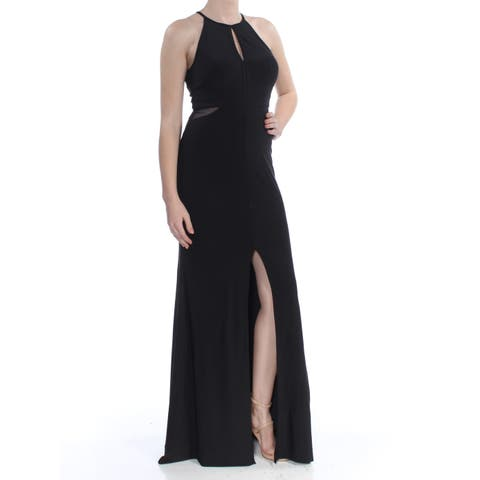 092af98dc66 XSCAPE Womens Black Cutout Halter Gown Sleeveless Halter Full-Length Sheath  Evening Dress Size
