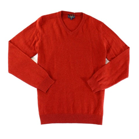 Club Room NEW Red Mens Size Medium M Ribbed V-Neck Cashmere Sweater