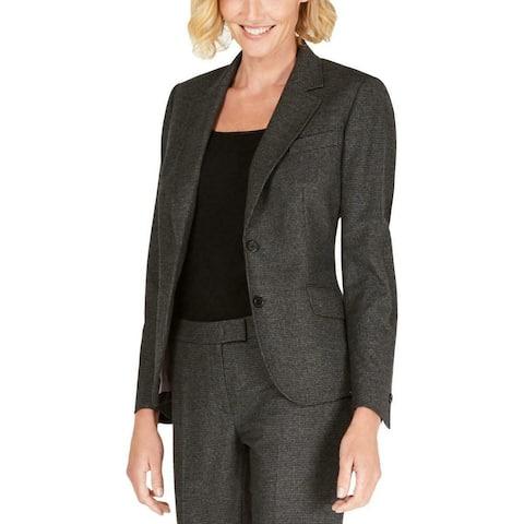 Anne Klein Women's Micro-Check Two-Button Black Size 12 Pockets Blazer