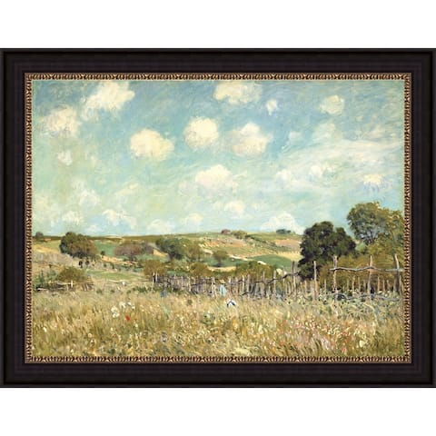 """Meadow by Alfred Sisley Giclee Print Oil Painting Black Frame Size 20"""" x 16"""""""