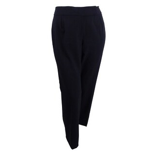 Tahari ASL Women's Plus Size Flat-Front Stretch Trousers - Black