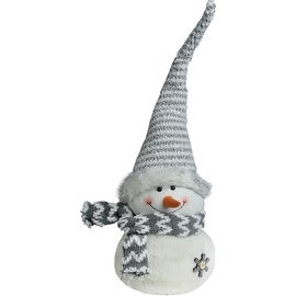 """24.5"""" Gray and White Snowman with Striped Hat Christmas Tabletop Decoration"""