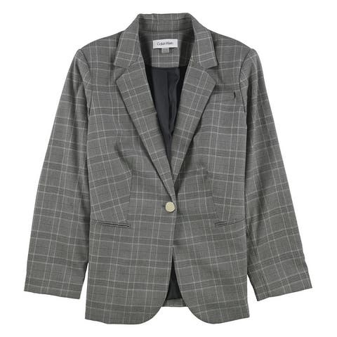 Calvin Klein Womens Metallic Plaid One Button Blazer Jacket