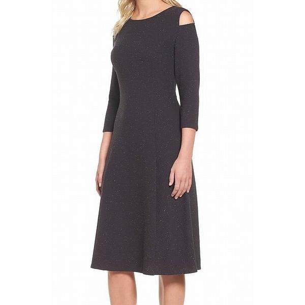 Nic + Zoe Women's Large Ribbed Cold Shoulder Sheath Dress