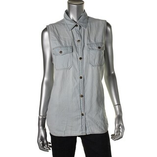 Current/Elliott Womens Juniors Button-Down Sleeveless Denim Shirt - 2