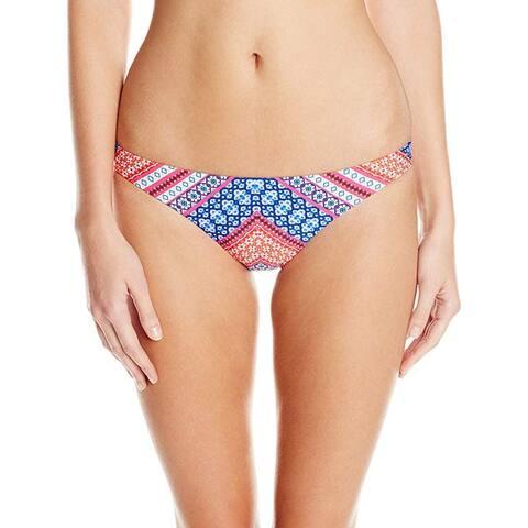 Shoshanna Women's Chevron Tapestry Classic Bikini Bottom, Fuchsia/Multi, Small - S