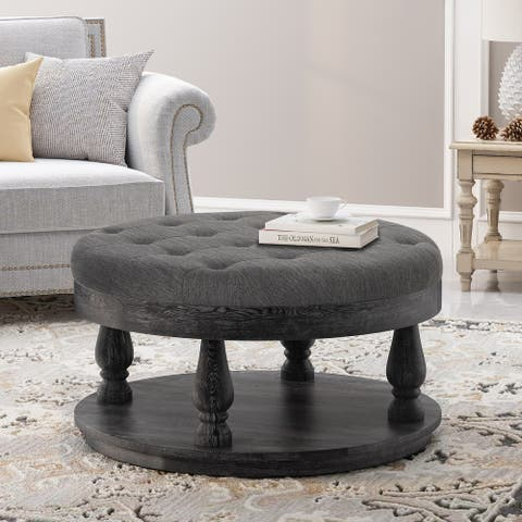 Hewlett Contemporary Fabric Round Ottoman by Christopher Knight Home