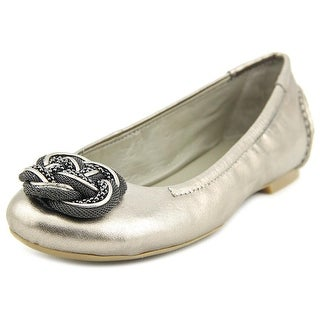 B. Makowsky Paint Women Round Toe Leather Gold Ballet Flats