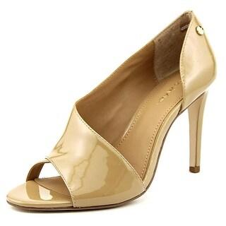 Calvin Klein Caelin Open-Toe Patent Leather Heels