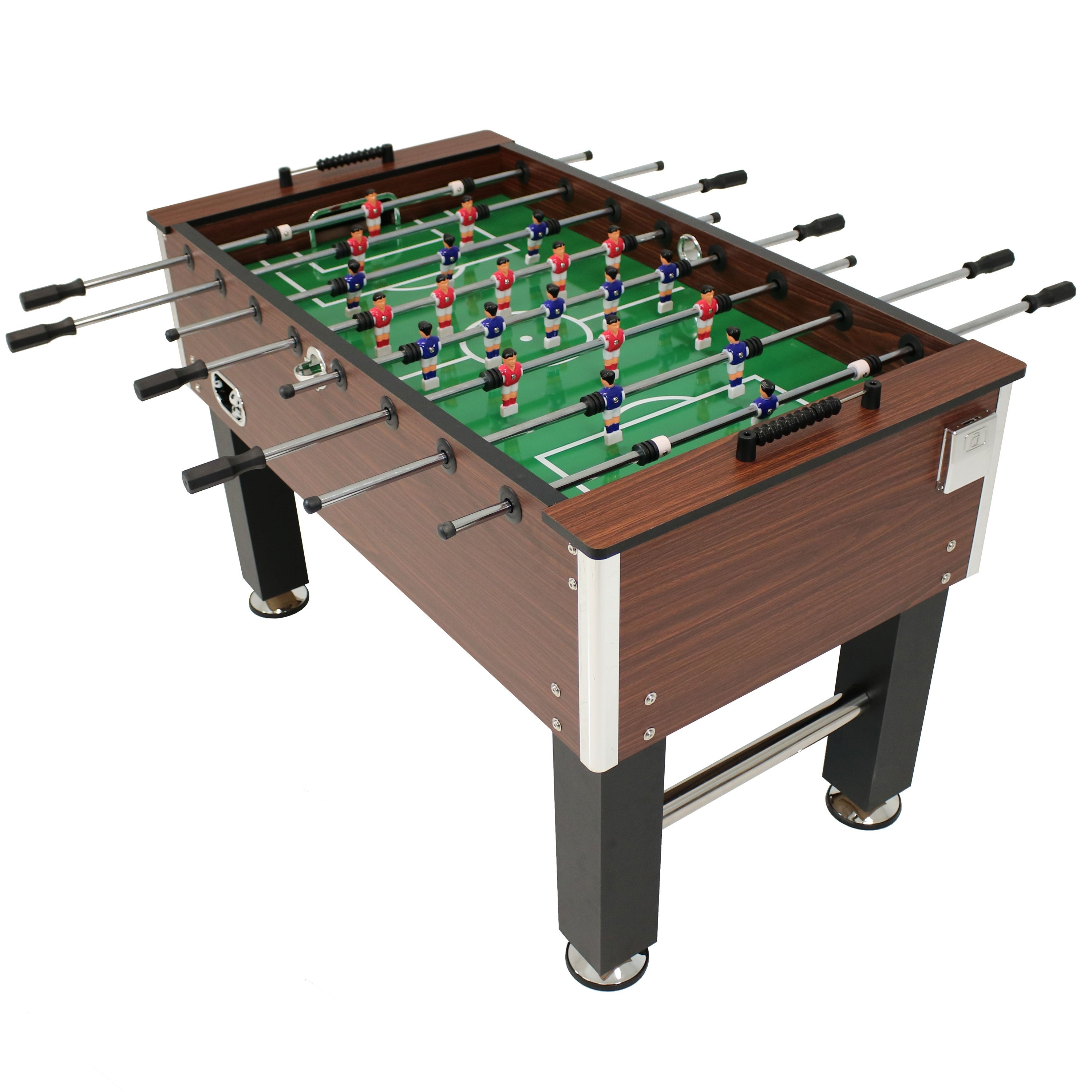 Sunnydaze Faux Wood Foosball Game Table With Folding Drink Holders   55 Inch