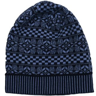 Versace VHB0605 0001 Blue Knitted Beanie Wool Hat