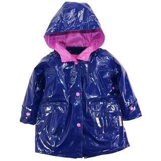 Wippette Toddler Girls Rain Coat Rainwear Hooded Solid Color Raincoat Jacket