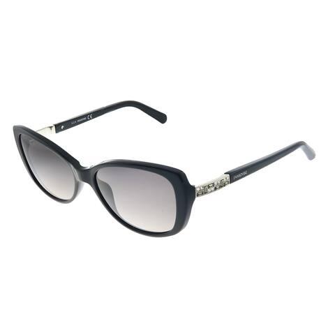 Swarovski SK 0124 01B Womens Shiny Black Frame Grey Gradient Lens Sunglasses