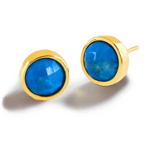 FIRE Turquoise Gemstone Stud Earrings in 24K Gold