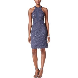 Nightway Womens Petites Cocktail Dress Lace Glitter
