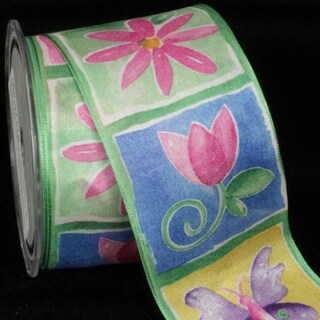 "Butterflies and Flowers Pink, Green and Blue Taffeta Wired Craft Ribbon 2.5"" x 27 Yards"