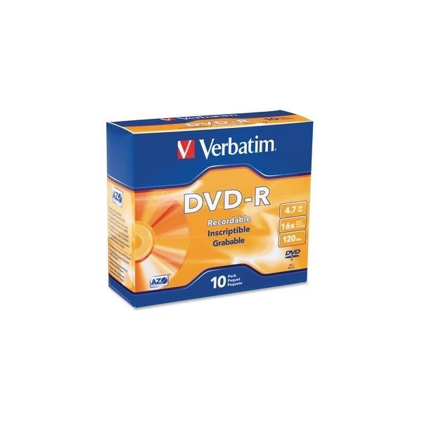Verbatim 95099 Verbatim AZO DVD-R 4.7GB 16X with Branded Surface - 10pk Slim Case - 2 Hour Maximum Recording Time