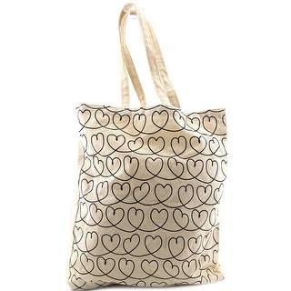 Cul De Sac Heart String Shoppers Bag Women Canvas Ivory Tote