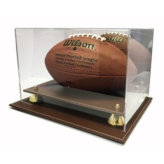 Max Pro Executive Brown Leather Style Football Display Case with Mirror - New