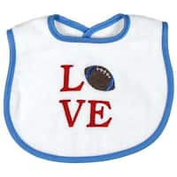 "Raindrops Baby Boys ""Love"" Embroidered Bib, Blue - One Size"