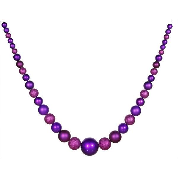 11' Commercial Size Matte & Glitter Purple Shatterproof Christmas Ball Garland