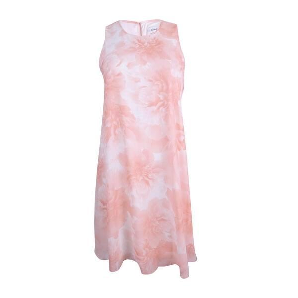 Calvin Klein Women\'s Plus Size Floral-Print Trapeze Dress