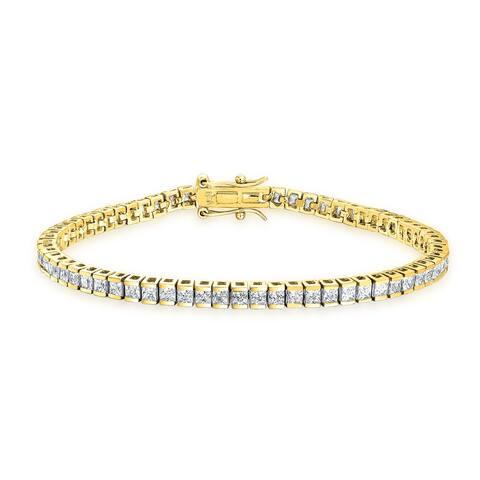 Classic Square Princess Cut Cubic Zirconia CZ Thin Prong Set Tennis Bracelet Women 14K Gold Plate 925 Sterling Silver
