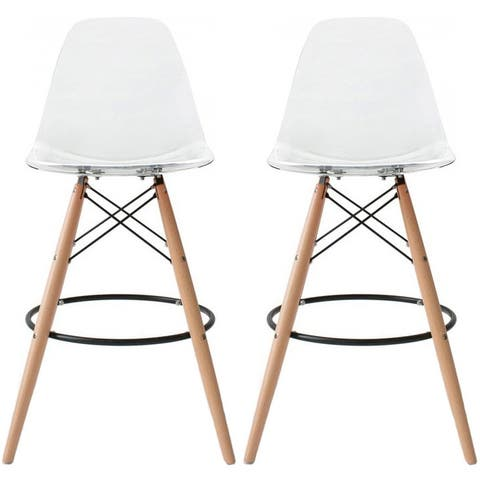 Set of 2 26-inch Contemporary Eiffel Dowel DSW Counter Height Stool Barstool With Backs For Kitchen Home Side Break Room