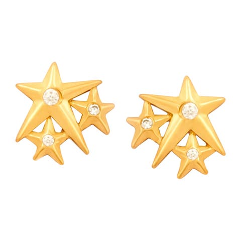 Chrysalis Charmed 14K Gold-Flashed Brass Lucky Star Stud Earrings