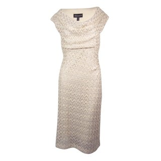Connected Women's Metallic Cap Sleeve Cowl Neck Dress (More options available)