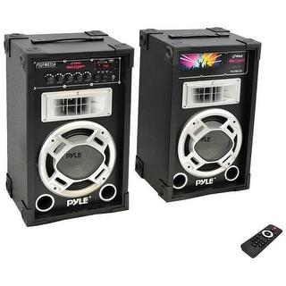 Pyle Pro 800 Watt Disco Jam Powered Two-Way PA Speaker System w/ USB/SD Card Readers FM Radio