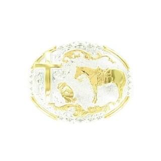 Crumrine Western Belt Buckle Oval Kneeling Cowboy Gold Silver C15100 - 3 x 4 1/4