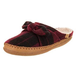Toms Womens Ivy Slipper, Adult, Red Plaid Felt/Bow