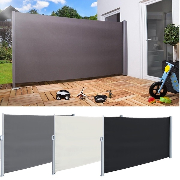 Real 118'' x 71''Sunshade Retractable Side Awning Outdoor Patio Privacy Divider Garden Screen Blind Roll-up Awning 3 Colors