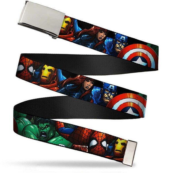 "Marvel Universe Blank Chrome 1.0"" Buckle Marvel Universe Superheroes Web Belt 1.0"" Wide - S"