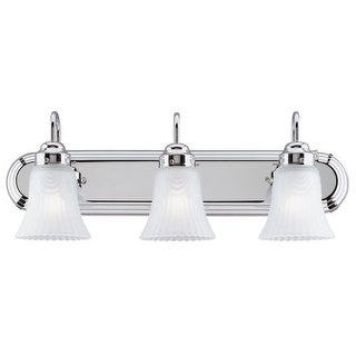 """Westinghouse 6652200 8.5"""" Tall 3 Light Vanity Bathroom Fixture with Frosted Ribbed Glass Shades - Silver"""