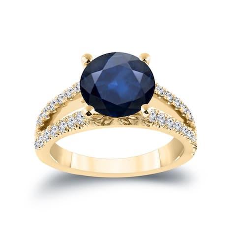 Auriya 14k Gold 1 3/4ct Blue Sapphire and Diamond Engagement Ring 1/2ctw