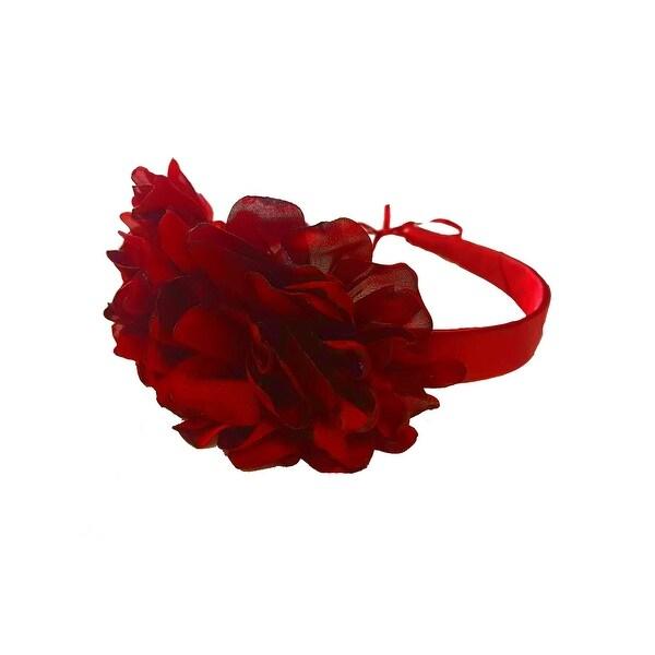 Girls Red Two Carnations Headband Fancy Diadem - One Size