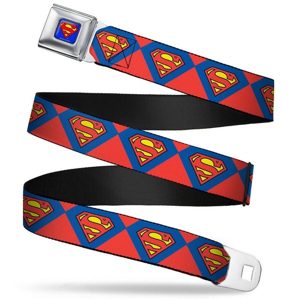 Superman Full Color Blue Superman Shield Diamond Outline Red Blue Yellow Seatbelt Belt