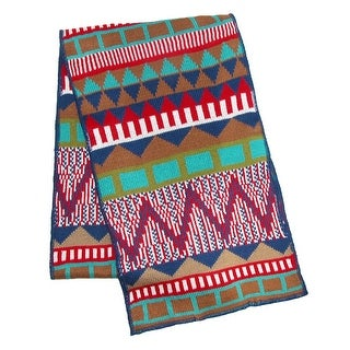 Cilla Collection Women's Knit Aztec Print Winter Scarf - red / blue - One Size