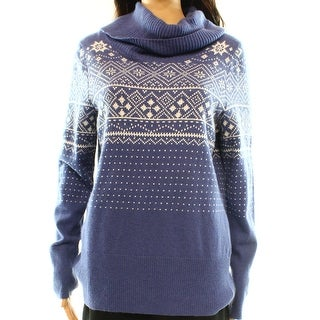 Alberto Makali NEW Blue Women's Medium M Cowl Neck Fair Isle Print Sweater