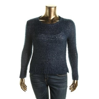 Rampage Womens Juniors Pullover Sweater Metallic Open Knit