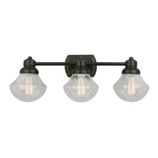 "Design House 577874 Sawyer 3 Light 27-3/8"" Wide Bathroom Vanity Light with Clear"