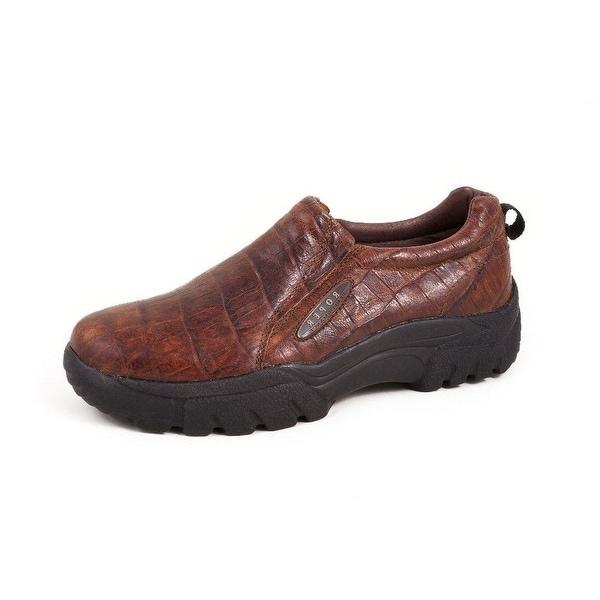 Roper Western Shoes Mens Sport Croco Slip On Brown